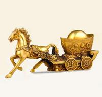 украшения для лошадей для спальни оптовых-Медный конный экипаж повезло зодиака золото бизнес подарки фэн-шуй дома Предметы интерьера бронзовые украшения