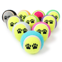Wholesale plastic training balls for sale - Group buy Pet Dog Puppy Play Toy Tennis Ball Chews Toys Paw Print Outdoor Sport Catch Fetch Training Balls CM