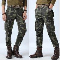 ropa de camuflaje gratis al por mayor-Pantalones casuales masculinos de talla grande Pantalones de camuflaje Pantalones de algodón de entrepierna Pantalones de alta calidad Pantalones de chándal Ropa Envío gratis