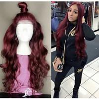 perruques de dentelle pleine vierge rouge achat en gros de-Perruques de cheveux humains brésiliens # 99j Rouge Vierge Cheveux Avant Dentelle Perruque Blanchis Noeuds Sans Colle Plein Dentelle Perruques