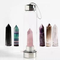 cristales de piedras preciosas al por mayor-Cristal de cuarzo Piedra preciosa Botella de agua Cristal Natural Cuarzo Botella de agua Obelisco Cristal Cristal Curación Botella de vidrio