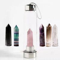 bouteille d'eau achat en gros de-Cristal Quartz Gemstone Bouteille D'eau Cristal Naturel Quartz Bouteille D'eau Obélisque En Verre En Cristal Guérison En Verre Bouteille