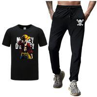 Wholesale one pieces anime resale online - Anime One Piece pants Hot Sale Men s Sets T Shirts pants Two Pieces Sets Casual anime Tracksuit Male Fitness Jogger Track Pants