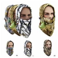 ingrosso collo di pile-4 Colori Fleece Camo Collo Face Copertina Balaclava Cappello Freddo Caccia Sci Face Mask Cappelli Esterni Cappelli Del Partito CCA10825 36 pz