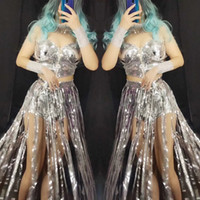 Wholesale dj ds women costume online - Sparkly Silver Sequins Bra Fringes Short Dance Outfit Set Women Singer Dancer Wear Shining Stage Costume Birthday Party DJ DS Bra Sets