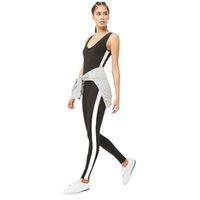 dışarıdaki bez toptan satış-İçi boş-out Elastik Kumaş Koşu Kadınlar Profesyonel Fitness İçin Kadın Sıkı Beyaz Şerit Spor Yoga Suit