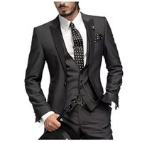 Wholesale prom suits for sale - Group buy Hot selling Black Men Piece Suits lapel For Wedding Prom Groom Single Breasted Blazer Mens High Quality Masculine Blazers