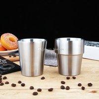koksgläser groihandel-7 Unzen 200 ml Weingläser Edelstahl Doppel-Wand Insulated Cups Kaffeetassen Reise Wasser Coke Cup