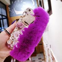 телефонные чехлы для iphone 5c оптовых-Yunrt роскошные побрякушки теплый мягкий мех бобра кролика волосы цветы TPU телефон случаях для iphone X 5S 5C 6s 7 7Plus 8 плюс защитный телефон