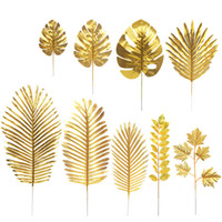 Wholesale luau flowers for sale - Group buy Gold Turtle Leaf Artificial Tropical Palm Leaves for Hawaii Luau Party Decorations Beach Theme Wedding Flower Table Decoration