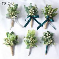 corsage da agulha venda por atacado-YO CHO Boutonniere Noivo Corsages Bagas Verdes Branco Artificial Eucalipto Planta Folha de Agulha de Pinho Floresta Estilo Festa de Casamento Suprimentos de Festa