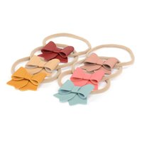 Wholesale handmade infant headbands resale online - 6 Colors Handmade Baby Nylon Headband inch Faux Leather Bow Stretchy Hair Accessory for Baby Newborn Infant Kids HS023