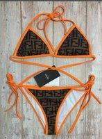ein schulter bikini badeanzug großhandel-FF Frauen Einteiler The New Classic Fashion FF bedruckt orange schwarz Schultergurte Badeanzug Sexy Bikini Pop Print Lady BIKINI