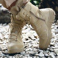 ingrosso scarpe di sicurezza impermeabili-New Solid Cool Boots Uomo Resistente gomma antiscivolo Outsole militare Scarpe Uomo Lace-up Scarpe impermeabili di sicurezza Uomo XX-423