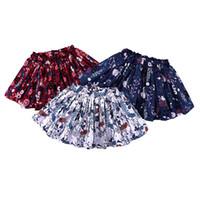 mini saia de tutu para meninas venda por atacado-Meninas do bebê Floral Impresso Plissado Tutu Vestido de Moda Crianças vestido De Baile Plissado Princesa Mini Saias Roupas de Grife Crianças Roupas
