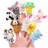 peluş hayvan parmak kuklaları toptan satış-Çin Zodyak 12pcs / lot Hayvanlar Karikatür Biyolojik Parmak Kukla Peluş Oyuncak Bebek Parmak Bebekler C46 Favor