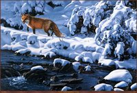 Wholesale snowing oil paint resale online - Home Art Decor Animal Snow fox Oil Painting Picture Printed On Canvas For The Sitting Room Adornment Art a52