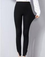 гетры с черным лодыжком оптовых-Plus Size Cotton Ankle-Length Pants Solid Female Black/Gray Elastic Waist Leggings Pants