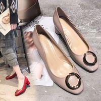 ingrosso arco nero basso tacchi-2019 Dress Shoes Autunno Donna Ufficio Ladies Low Heel Pumps Bow Black Wedges Comodi tacchi Pompe Ladies lavoro formale