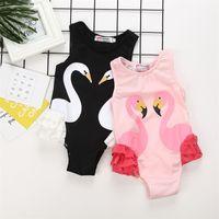 Wholesale black children swimwear resale online - Black Swan Conjoined Children Swimsuit Flamingo Pink Lovely Girl Swimwear Lace Soft Comfortable Beach Popular Hot Sale kl I1