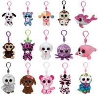 juguetes abucheos al por mayor-Ty Beanies Llaveros Ty Beanie Peluches TY Colgantes de felpa Unicornio Peluches Peluches Muñecos Animales Boos Marcel TWIGGY Owl