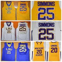 ben jerseys achat en gros de-Top Qualité Ben Simmons Jersey # 25 Bleu Blanc Jaune Cousu Hommes Ben Simmons College Maillots De Basket-ball University Shirts S-XXL