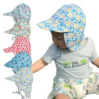 Wholesale crocheted hats for infants resale online - 6 colors Baby cap spring autumn Printed neck sun hat infant fisherman hat for Small child