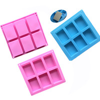 Wholesale handmade molds resale online - silicone soap molds Cavity Hole Rectangle DIY Baking Mold Tray Handmade Cake Biscuit Candy Chocolate Moulds Non stick baking Tools