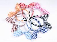 kore tavşan kulak kemeri toptan satış-Sevimli Saç Yaylar Kore Küçük Kızlar Yeni Fikirler Kumaşlar Çiçekler Yay Düğüm Hairband Kafa Bunny Tavşan Kulakları Saç Çember Bant aksesuarları 23 renk