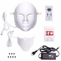 liderliğindeki yüz hafif terapi makinesi maskesi toptan satış-7 Renk Led Yüz Maskesi Led Kore Foton Terapi Yüz Maskesi Makinası Işık Terapi Boyun Güzellik Maske
