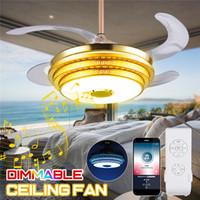 farbe wechselnde deckenleuchten großhandel-Art-Deco-LED-Deckenventilatoren leuchten Trendy RGB-Farbwechsel Bluetooth-Musik drahtloses Lüfterlicht mit Fernbedienung Atmosphäre Pendelleuchten