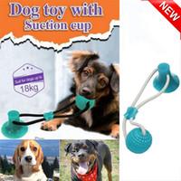 juguetes de dientes molares al por mayor-Multifunción para mascotas Molar Bite de perro de juguete juguete cuerdas, autoejecutable pelota de juguete de goma con ventosa Molar Chew Toy limpieza de los dientes