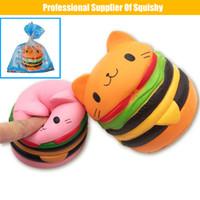 ingrosso burger squishy-Cartone animato Gatto Burger Squish Giocattolo Squishy Lento Aumento Spremere Giocattolo Fascino Stress Mitigatore Giocattoli per Bambini Stress Spremere giocattolo