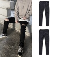 Wholesale woman jeans bound resale online - Cool2019 Street Hip hop Wind Bound Feet Knife Holes Washing Water Close Black Joker Jeans Men And Women Leisure Time Trousers