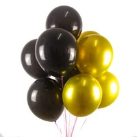 Wholesale gold round balloons for sale - Group buy 50Pcs inch Gold Black Round Balloons Wedding Balloons Party Bridal Decorations Hen Party Love Letter Balloon Baby Shower
