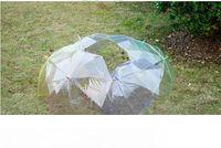 Wholesale clear umbrellas for wedding for sale - Group buy Transparent Clear EVC Umbrella Dance Long Handle Umbrellas Beach Wedding Colorful Umbrella for Men Women Kids