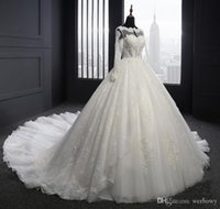 Wholesale shot wedding dresses resale online - Beige New Wedding Dress Lace Long Sleeved Shoulder Church Wedding Dress A Large Tail Pure Handmade Beaded Halter Bandage Shot Beach Dress