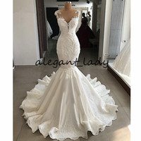 Wholesale wedding dress real pictures back mermaid resale online - Luxury Mermaid Wedding Dress Sheer Nude Back Beading Lace Satin V neck Robe de Mariee Ivory White Real Wedding Gown