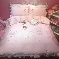 Wholesale modern girls beds for for sale - Pink Cartoon Princess Embrodiery Egyptian cotton Lace Girl Bedding Set Duvet Cover Bed Linen Bed sheet Pillowcase Gift For Child