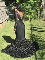 Wholesale red carpet dresses for girls for sale - Group buy African Luxury Sparkly Sequined Mermaid Prom Dresses for Black Girls Backless Sweep Train Formal Dress Evening Gowns Red Carpet Dress