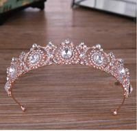 Wholesale white rose princess for sale - Group buy Rose gold rhinestone crown tiara Princess crown wedding dress accessories
