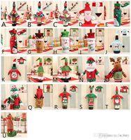 вина оптовых-Новогоднее украшение Санта-Клаус бутылка вина Обложка Подарок Олени Снежинка Эльф бутылка Держите сумку снеговик Xmas Домашнего украшение