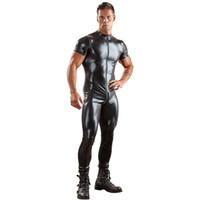seks adamı kısa toptan satış-Seks bodysuit seksi erkek deri catsuit erkek giyim clubwear bir takım kısa kollu tulum siyah erkekler t gömlek fermuar pantolon
