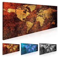 Wholesale oil painting for wall decoration resale online - No Frame World Map Decoration Oil Painting Canvas Art Map Picture for Home Wall Decoration Art Picture Multicolor