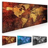 pintura a óleo do mapa mundial venda por atacado-(Sem Moldura) Mapa Do Mundo Decoração Pintura A Óleo Da Arte Da Lona Mapa Imagem para Casa Decoração Wall Art Picture (Multicolor)