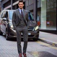 projetos do smoking dos homens cinzentos venda por atacado-2018 Thorndike New Design Cinza Men 3 Peças (Jacket + Pants + Vest) Clássico dos homens Ternos Smoking Masculino Bonito Slim Fit Blazers Dos Homens
