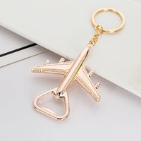 Keychain bottle Beer Opener gole key Chain Airplane Ring Promotional Golden Creative Wedding Guest party Favor