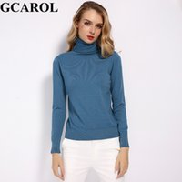 Wholesale ladies thin red belt resale online - GCAROL New Women Wool Turtleneck Sweater Fall Winter Jumper Render Knit Basic Pullover Solid Color OL Lady Knitted Tops Y191019