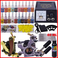 ferramentas de maquiagem equipamentos venda por atacado-YLT-79 Tatuagem kit completo ferramenta de tatuagem equipamentos 2 maquinas de maquiagem permanente ponta da máquina agulhas conjunto de fornecimento de energia