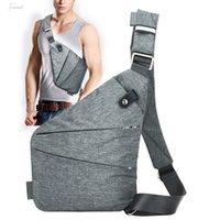 Wholesale male messenger bag resale online - Fashion Canvas Chest Bag Men Simple Single Shoulder Bags For Men Chest Pack Anti Theft Male Messenger Bag Black Phone Blosas